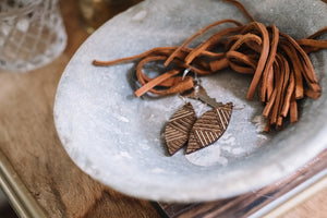 wood leaf earrings - etched lines