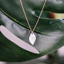 water-etched leaf necklace