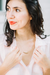 the lizzy - lightning bolt necklace with gold accent