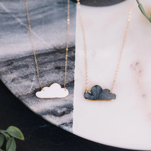 cloud necklace with gold accent, gold filigree jewelry, Austin jewelry, porcelain wearable art, social impact jewelry, ethical accessory