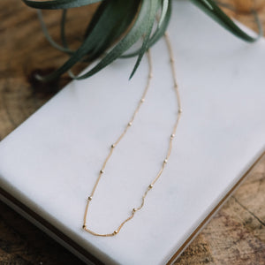beaded gold necklace, Austin jewelry, social impact jewelry, ethical accessory, everyday gold