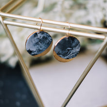 granite - round black marbled earrings