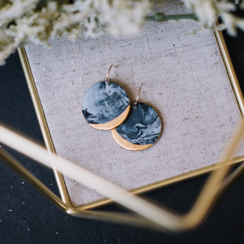 granite round black marbled earrings, gold filigree jewelry, Austin jewelry, porcelain wearable art, social impact jewelry, ethical accessory, wearable fine art