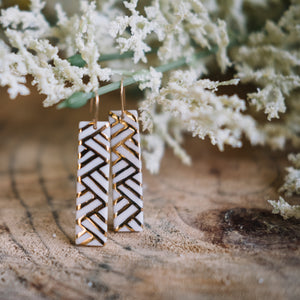 golden white porcelain rectangle earrings, gold filigree jewelry, white and gold, Austin jewelry, porcelain wearable art, social impact jewelry, ethical accessory