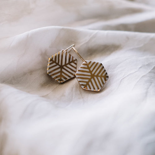 hexagon twin earrings