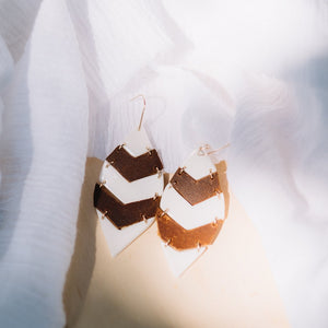 porcelain and leather leaf hanging earrings, Austin jewelry, social impact jewelry, ethical accessory, everyday leather