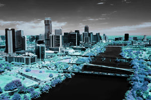 Austin aerial photo, infrared photography, drone photography, aerial city, Austin blue landscape
