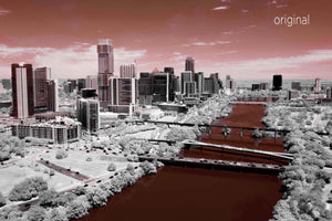 Austin aerial photo, infrared photography, drone photography, aerial city, Austin orange landscape, UT orange