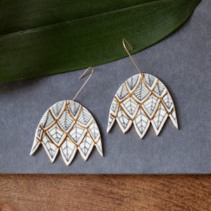 leaf flower earrings