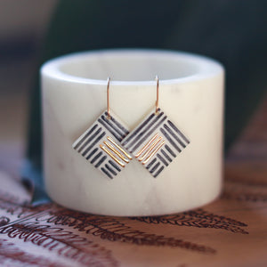black square tile earrings