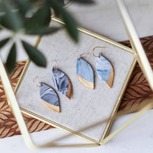 granite - black and blue marbled leaf earrings