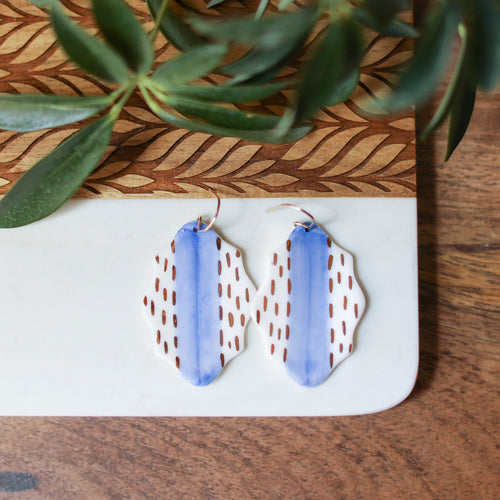 blue and gold plaque earrings