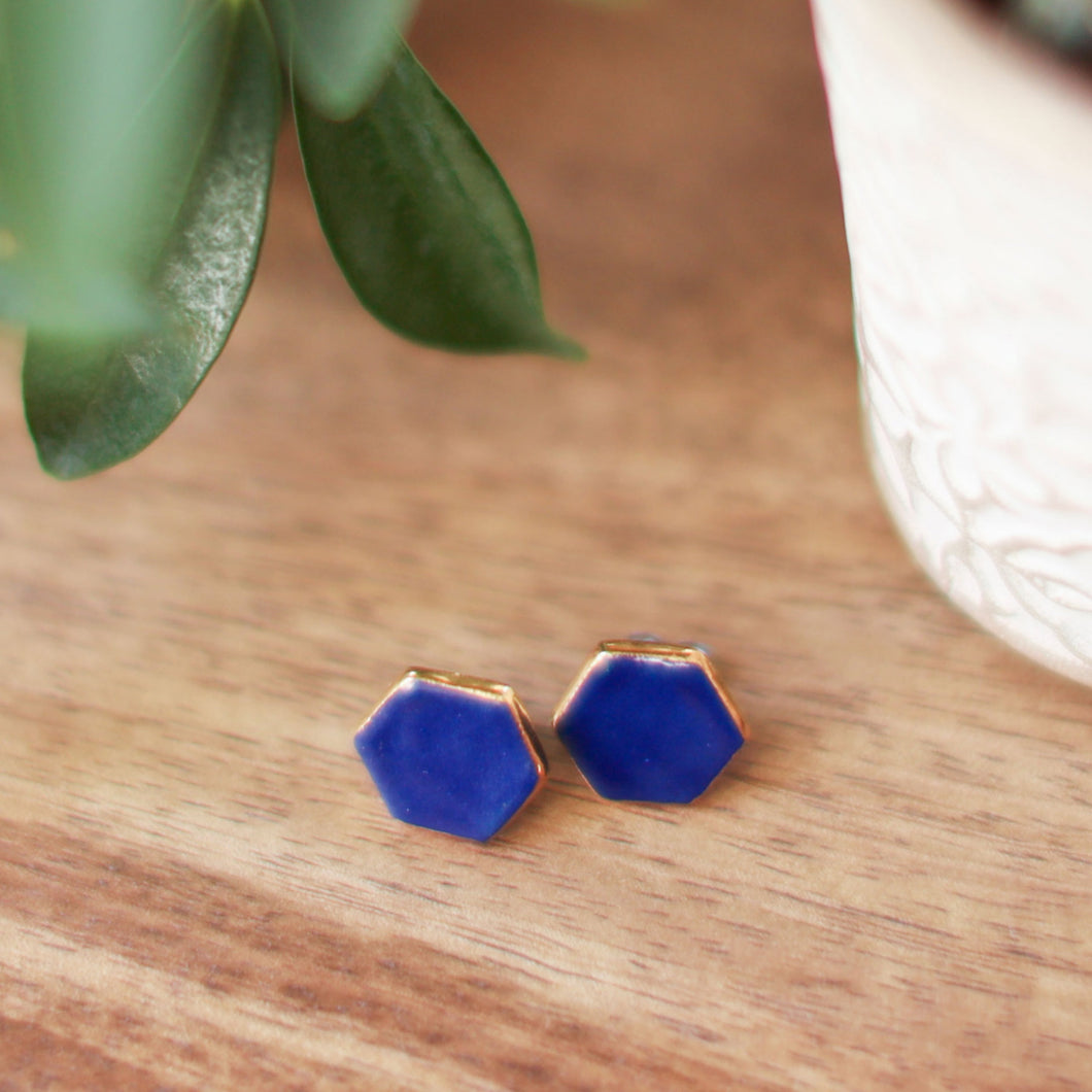 blue hexagon studs