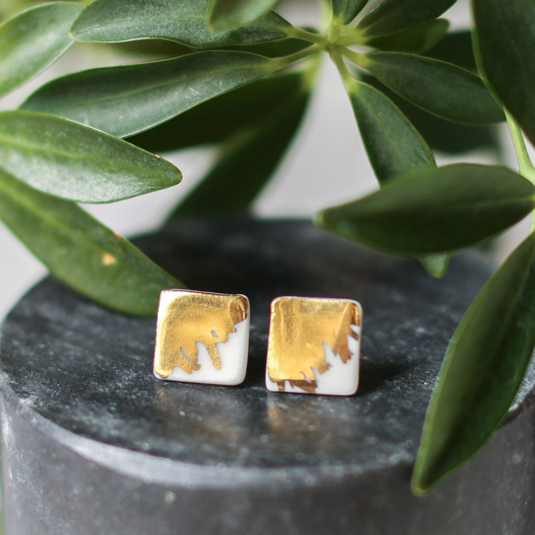 brushed gold porcelain square studs