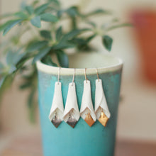 calla lily earrings with gold accent
