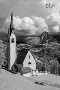 Chiesa di San Giacomo photo, infrared church photography, aerial drone infrared photo, black and white European church landscape, Italian church in mountains photo