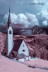 Chiesa di San Giacomo photo, infrared church photography, aerial drone infrared photo, European church landscape, Italian church in mountains photo
