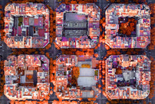 aerial drone city blocks, drone urban development image, orange neighborhood image, overhead perspective, Austin photographer