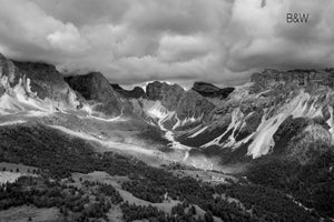 Dolomites aerial landscape, infrared nature photography, Austin photographer, Italian mountains, overhead mountain perspective