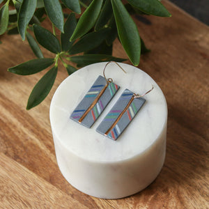 grey rectangle earrings