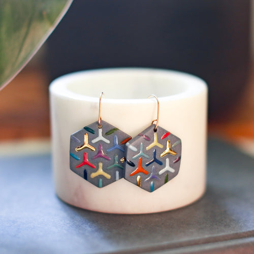 colorful grey hexagon earrings