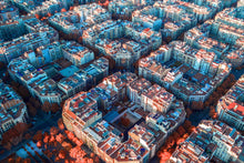 Barcelona aerial shot, Barcelona cityscape, Barcelona drone photography, infrared aerial
