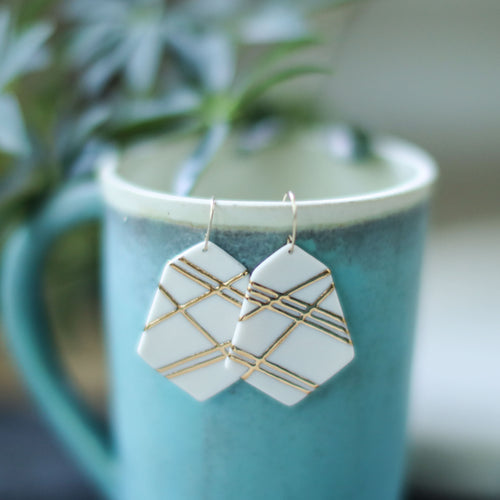 geometric mosaic earrings