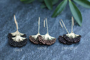 wood ginkgo earrings with gold stem