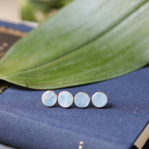 granite - teal studs with gold accent