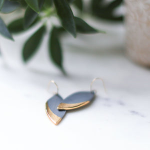 grey and gold leaf earrings