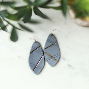 grey oval mosaic earrings
