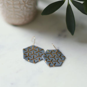 grey hexagon earrings, porcelain jewelry, porcelain earrings, clay jewelry, grey jewelry, gray jewelry, remnant studios, non-profit jewelry, ethical jewelry