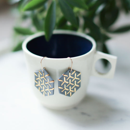 grey hexagon earrings