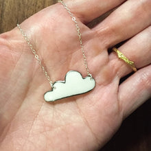"black or white ""silver lining"" porcelain cloud necklace"