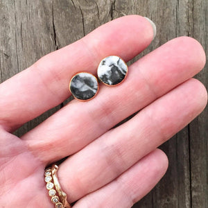 granite black and white marbled studs, gold filigree jewelry, Austin jewelry, porcelain wearable art, social impact jewelry, ethical accessory