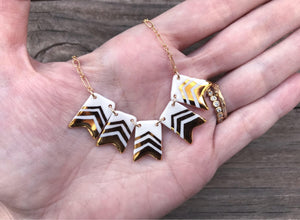 porcelain penant banner necklace with gold accent
