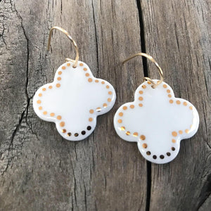 porcelain tile earrings with gold accents
