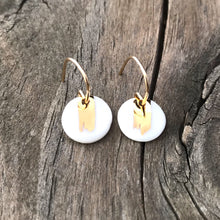 brushed gold round earrings