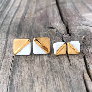 diagonal gold and white earrings, brushed gold jewelry, gold and white square studs, Austin jewelry, porcelain wearable art, social impact jewelry, ethical accessory