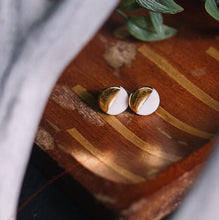 white and gold round stud earrings, gold filigree jewelry, Austin jewelry, porcelain wearable art, social impact jewelry, ethical accessory