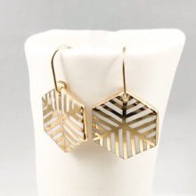 geometric gold inlay earrings, white and gold hanging earrings, gold filigree jewelry, Austin jewelry, porcelain wearable art, social impact jewelry, ethical accessory
