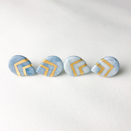 granite - teal drop studs with gold accent