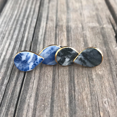 granite blue marbled porcelain teardrop studs, gold filigree jewelry, Austin jewelry, porcelain wearable art, social impact jewelry, ethical accessory