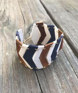 leather and porcelain chevron bracelet