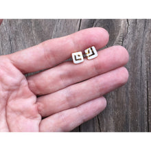 tiny white porcelain square studs with gold accent, gold filigree jewelry, white and gold, Austin jewelry, porcelain wearable art, social impact jewelry, ethical accessory