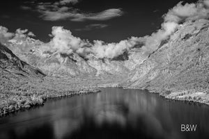 Lake Bohinj photo, cloud and mountain landscape, infrared photography, black and white drone photography, Austin photographer