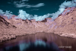Lake Bohinj photo, cloud and mountain landscape, infrared photography, drone photography, Austin photographer