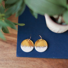 large brushed gold porcelain earrings