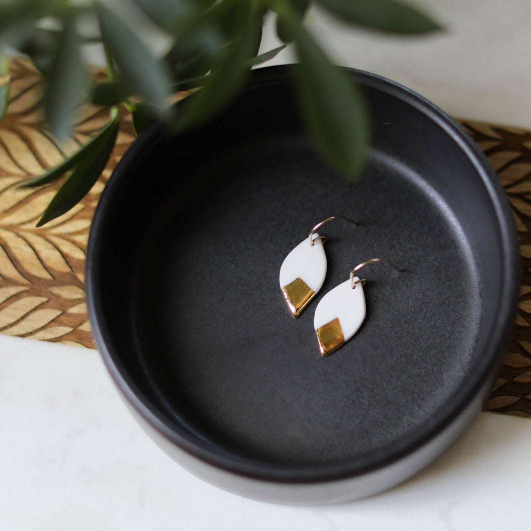 leaf earrings with gold accent