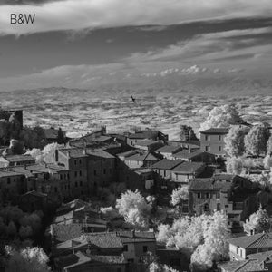 Montalchino Italy aerial photo, infrared photography, drone photography, aerial city, Austin photographer, black and white landscape